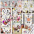 New  6 Sheets/lot Nail Art Tips Halloween Water Transfer Decal Stickers All Hallow's Day Decoration Ghost Bat Skull Witch Death