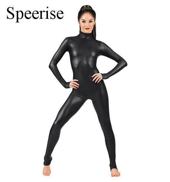 SPEERISE Women Long Sleeve Black Catsuit Bodysuits Full Body Gymnastics Dance Unitard Lycra Spandex Dancewear Cosplay Unitard