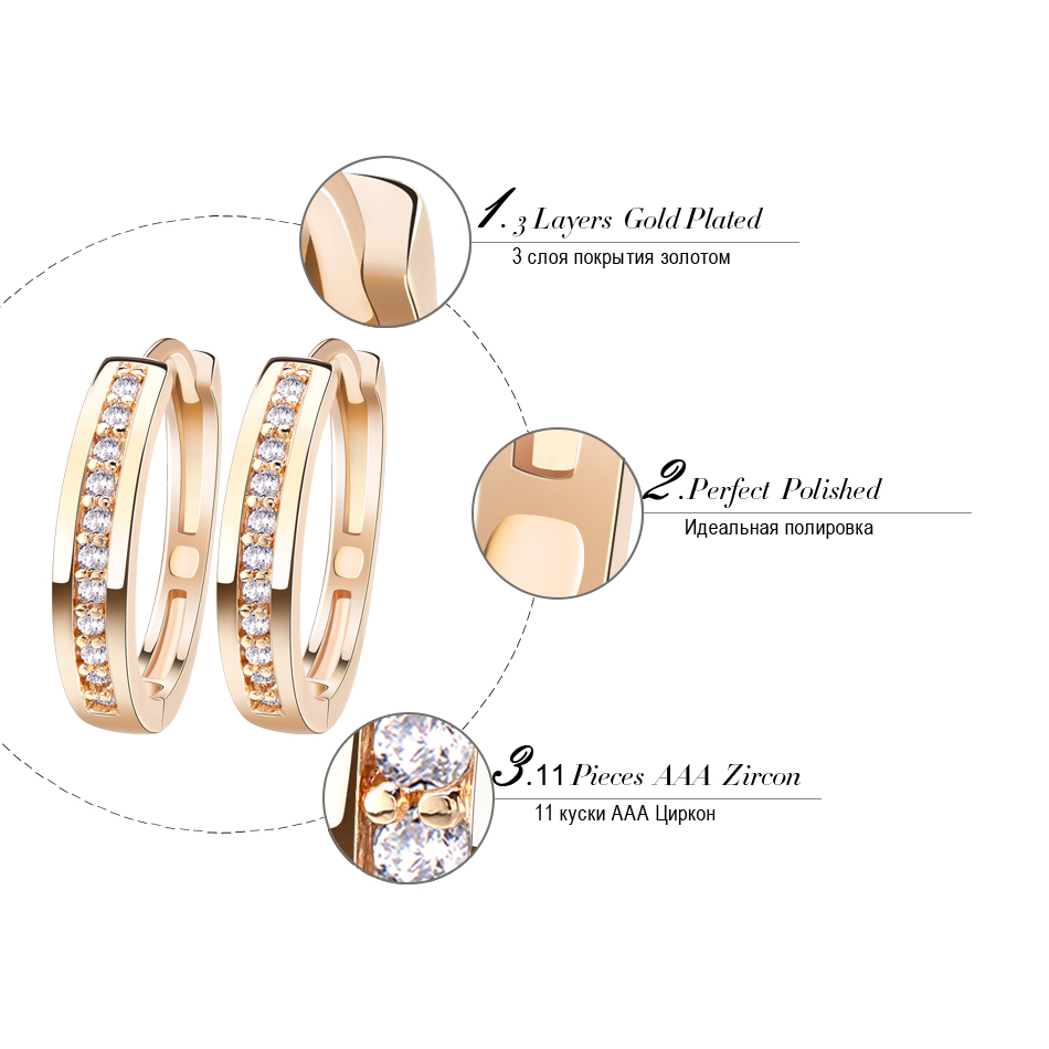 Effie Queen Cute Romantic Style Earrings Jewelry Gold -color Paved with AAA Cubic Zircon Stud Earrings for Women DDE34 6