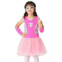 Halloween Girl Costume Kids Spider Pattern Goggles Gloves Dress Puff Cute Costumes Sleeveless Cartoon Dress Carnival