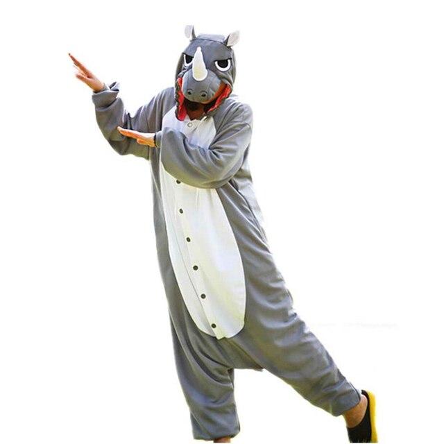 2016 Новый Мужчины Взрослых Забавные Милые Носорог Носорог Серый Пижамы Косплей Костюм Животных Onesies Пижамы