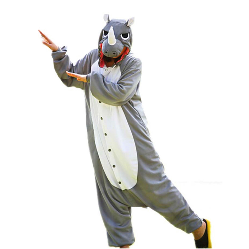 2017 New Men Adult Funny Cute Rhinoceros Gray Pajamas Cosplay Costume Animal Onesies Rhino Sleepwear