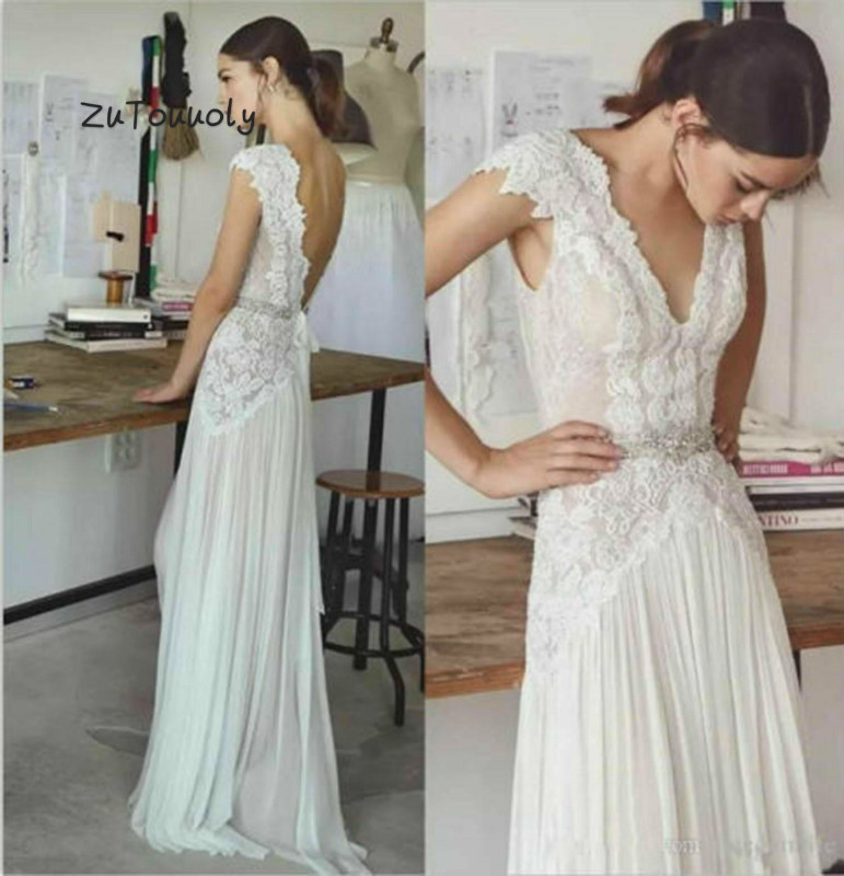 Chic Boho Wedding Dress Designer Column V Neck Lace Beach Bohemian Wedding Dress Low Back Hippie  Beaded Sash Weeding Gowns boda