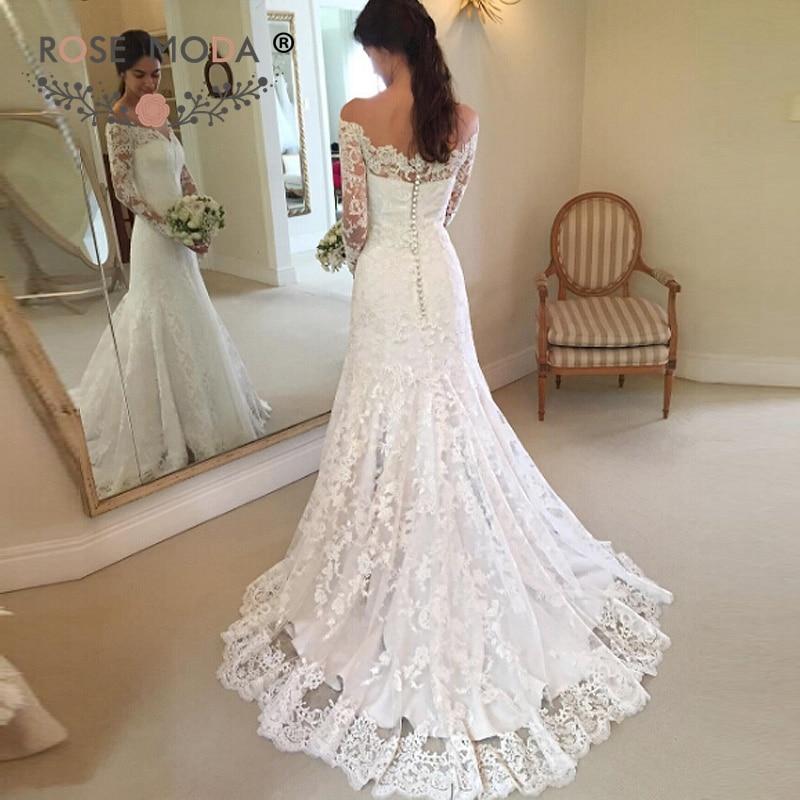 Rose Moda Off Shoulder Chantilly Lace Wedding Dress 2019