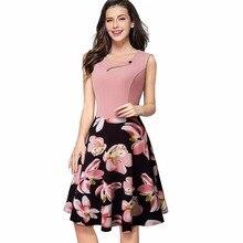 Для женщин элегантные с круглым вырезом без рукавов с принтом летнее платье Повседневное цветочный с кнопкой линии платье vestidos ea049