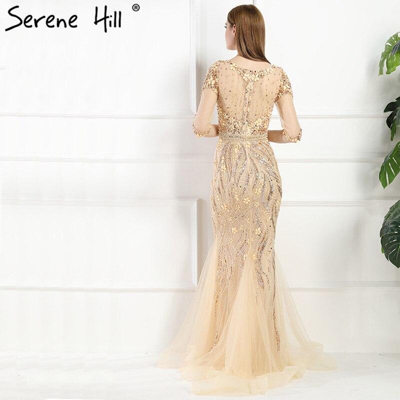 666c32b409 Luxury Sexy Gray Handmade Hard Working Crystal Mermaid Evening Dresses Long  Tulle Half Sleeves 2019 Real Photo LA6005-in Evening Dresses from Weddings  ...