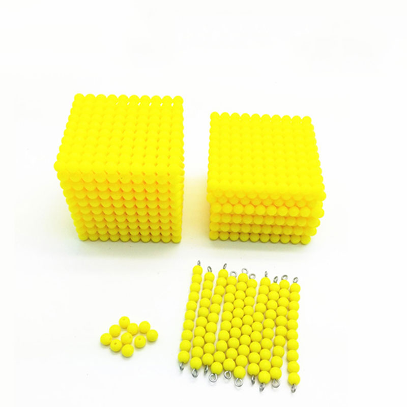 Wooden Montessori Toys Baby Yellow Beads Cube Montessori Beads Learning Educational Toys For Toddlers Juguetes Brinquedos ME2264