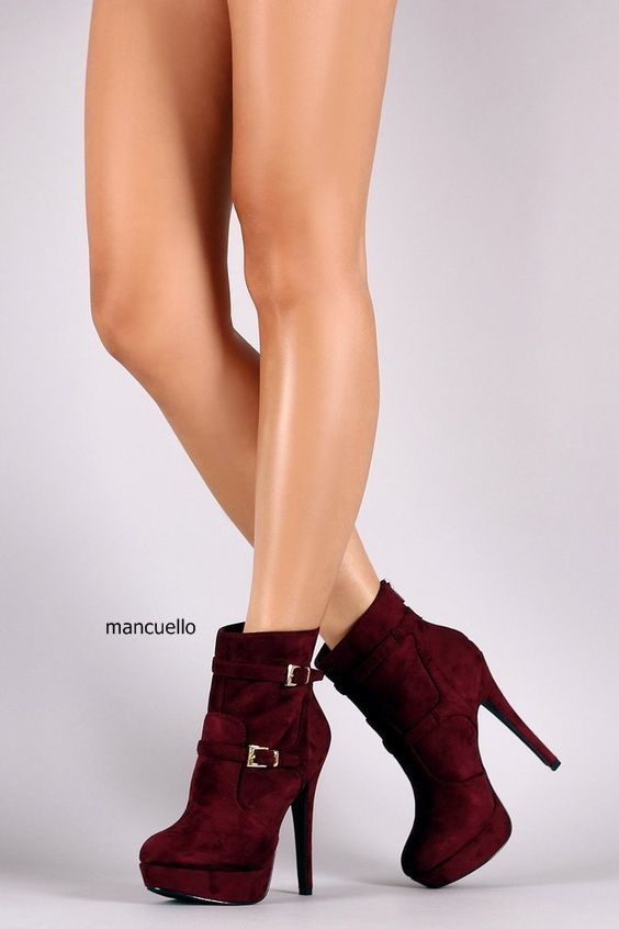 Women Chic Burgundy Suede Buckles Stiletto Heels Ankle Boots Sexy Metal Thin High Heel Back Zip Platform Boots Women Dress Shoes zip back fit and flared plaid dress