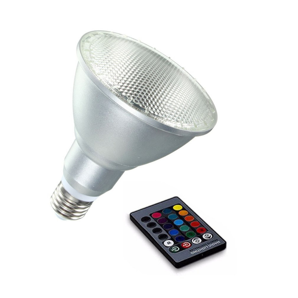 20W E27 PAR30 Dimmable RGB LED Light Magic Color Changing Bulb 85-265V Waterproof Outdoor with Remote Control light bulb 16 colors wireless remote control 85 265v e27 led 20w rgb changing light bulb h028