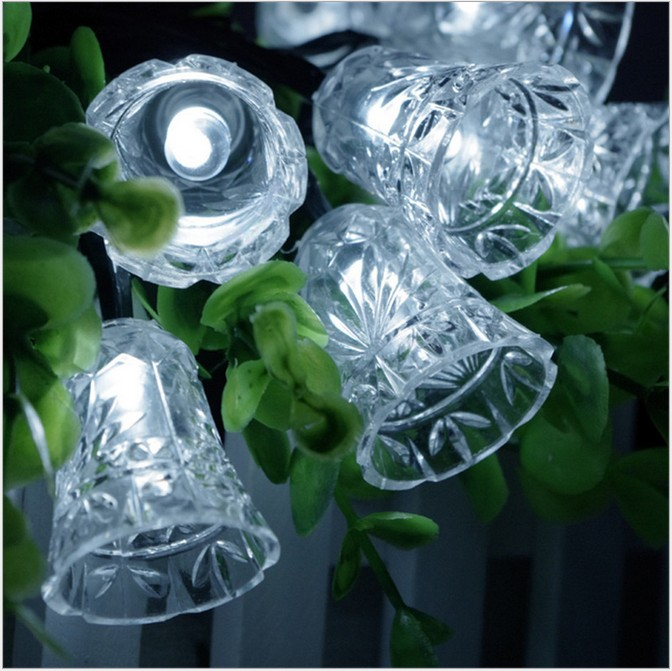 5M 20LEDs Christmas Bell Led String Solar Powered Fairy String Lights Lamps For Holiday Party Wedding Birthday Home Decoration