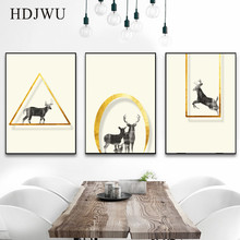 Artistic Nordic Minimalist Decoration Lucky Deer Painting Posters Wall Pictures for Living Room DJ247