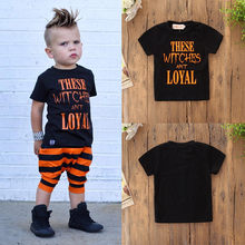 ad390263 (Ship from US) MUQGEW Halloween Toddler Kids Baby Boys Letter Shortsleeve Tops  Clothes Outfits roupas infantis menina Newborn 12M-5T