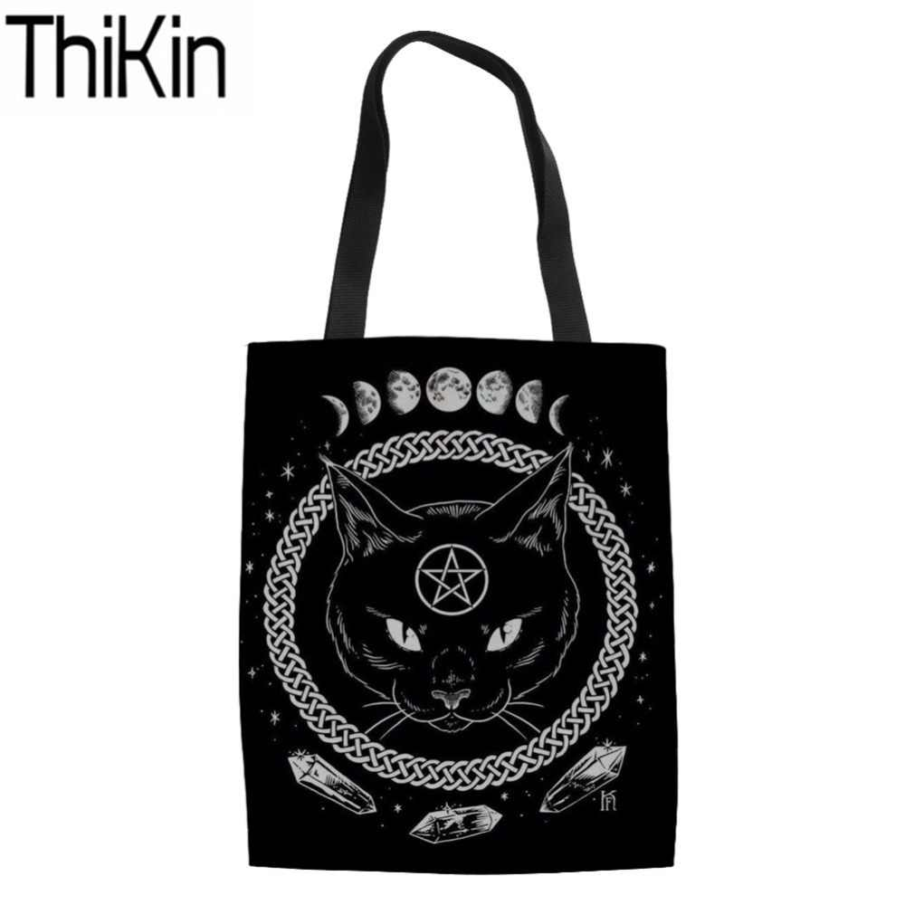 3bb1295d9 THIKIN Shopping Bags for Women Gothic Moon Phase Witchcraft Cat Printing  Shoulder Tote Bags Ladies Large