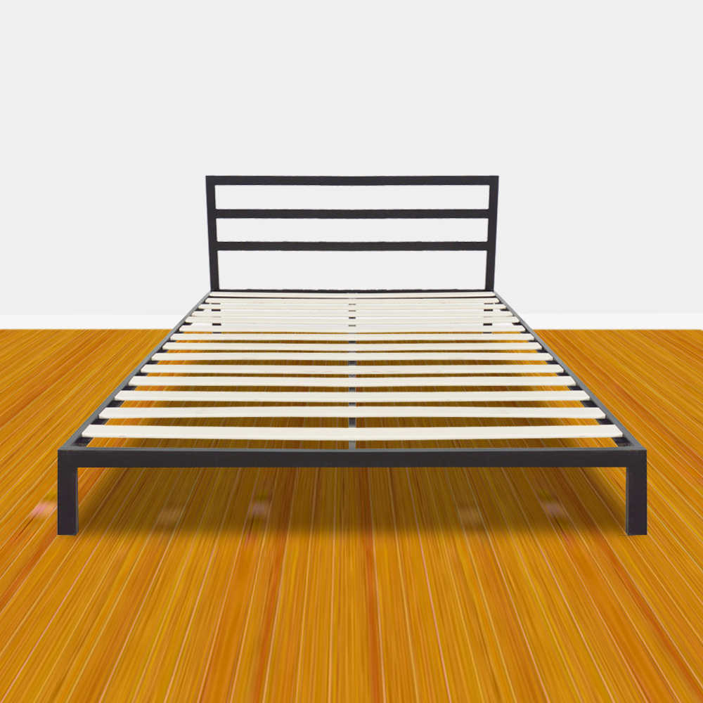 Simple Basic Iron Bed Square Horizontal Bar Head of Bed Metal Platform Bed Frame Full Size Bedroom Furniture Black - US Stock