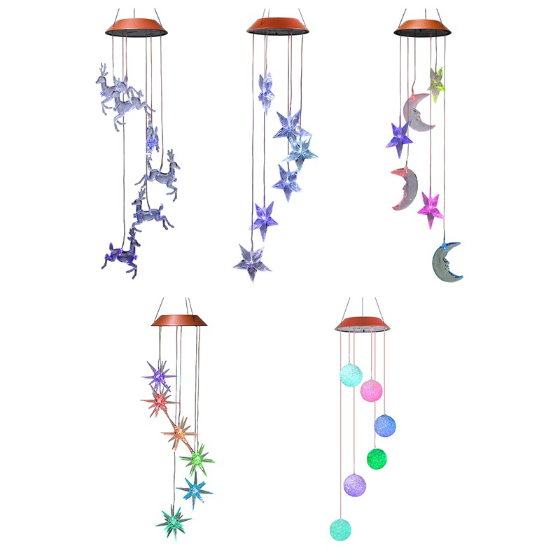 Solar LED Light Wind Chime with Light Sensor Vintage Outdoor Hanging Waterproof for Home Party Night Garden Decoration Solar Lamp Wind Chime