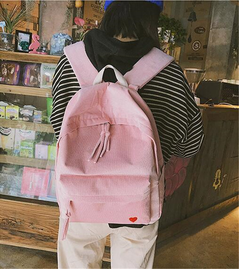 Meloke 2018 new women embroidery heart school bags corduroy travel backpack bags for women large size bags drop shipping MN907