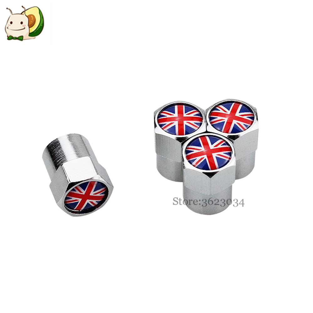 Tire Valves Caps Air Stem Cover Dustproof UK Flag Logo for Nissan Juke Mercedes Benz C Ford Fiesta Car Styling