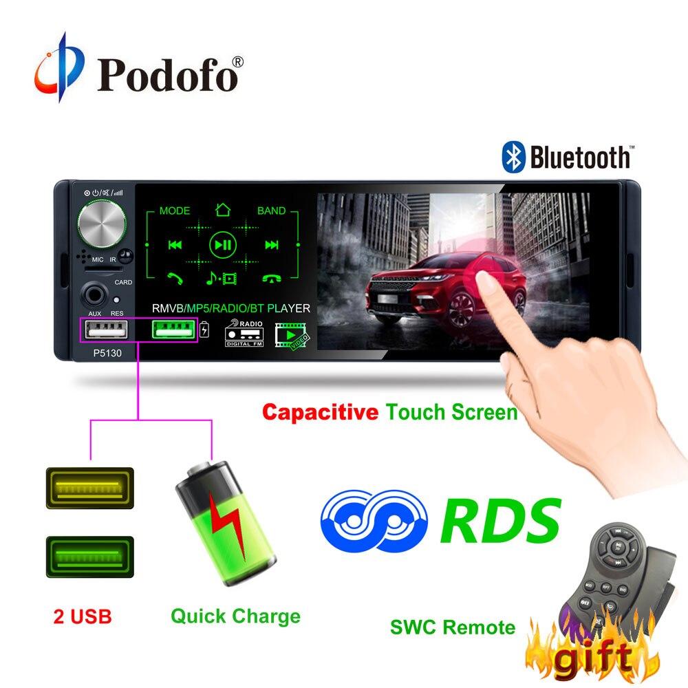 Podofo 4 1 Touch Bluetooth Car Radio 1 Din Autoradio Stereo Audio MP5 Video Player USB
