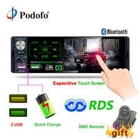 Podofo 4.1 Touch Bluetooth Car Radio 1 Din Autoradio Stereo Audio MP5 Video Player USB MP3 TF ISO In dash Multimedia Player