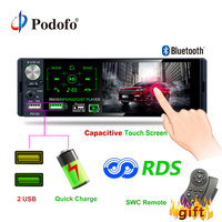 Podofo 4.1 Touch Bluetooth Car Radio 1 Din Autoradio Stereo Audio MP5 Video Player USB MP3 TF ISO In dash Multimedia Player