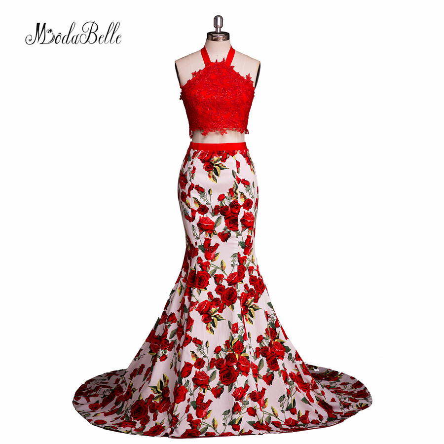 Sexy Red Long Tight Fitted 2 Piece Prom Dresses 2017 Floral Print
