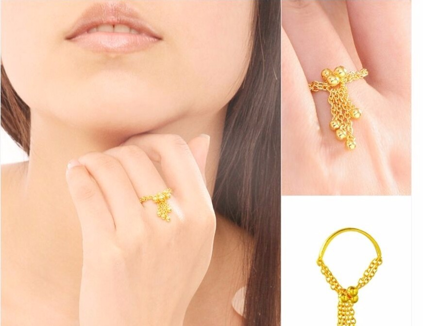 Bague en or jaune 24 K pur/bague femme à pompon sans cravate taille américaine: 6