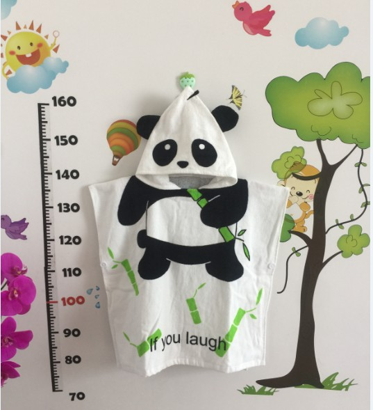 Милый детский банный халат с мышкой пандой, чистый хлопок, купальный Халат с капюшоном, Пляжное банное полотенце, спа-халат с мышкой крысы, пончо для младенцев - Цвет: panda
