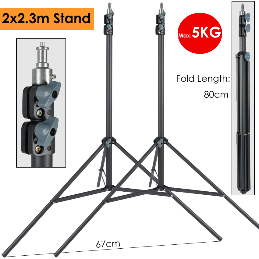 2 x 230cm Heavy Duty Photography Light Stand Support Tripod Max Load 5KG for Photographic Lighting Led Softbox Umbrella