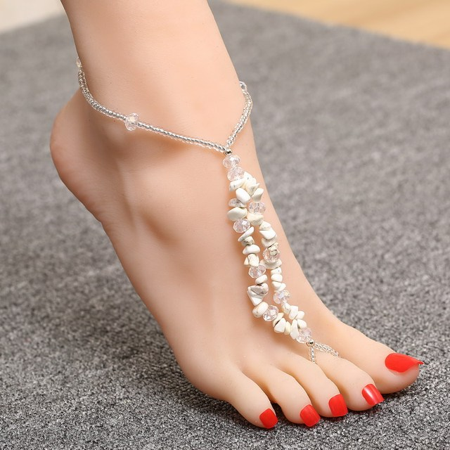 ca2dfc26f0d Hot fashion Barefoot beach sandals Bridal wedding Natural gravel anklet  foot jewellery crystal chain anklets