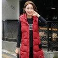 Barato al por mayor 2017 nueva venta Caliente Del Otoño Invierno de las mujeres de moda casual algodón abajo chaleco de plumas populares femenina chaleco largo