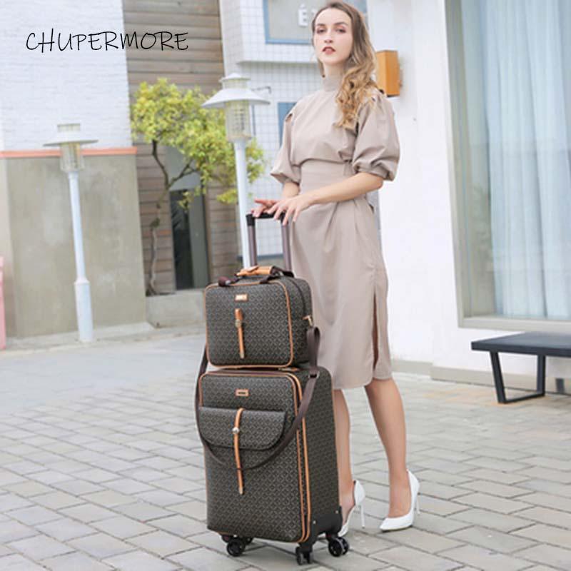 Moda międzynarodowe Retro marka zestaw walizek na kółkach Spinner kobiet o dużej pojemności walizka koła 16/20/24 cal wózek w Zestawy bagażowe od Bagaże i torby na  Grupa 3