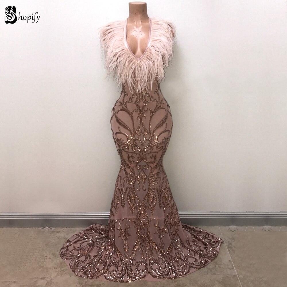 Long Elegant   Prom     Dresses   2019 New Arrival Sparkly Mermaid V-neck Golden Sequin Feather African Girl   Prom     Dress