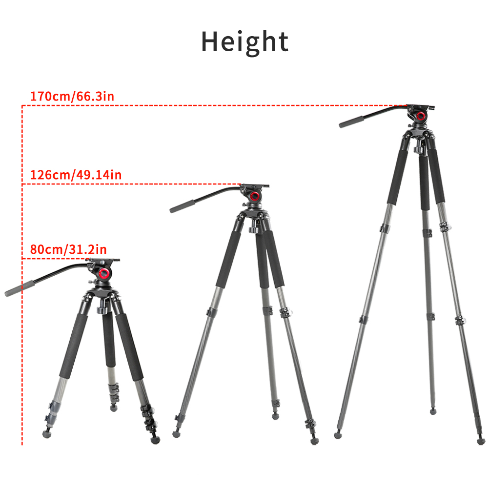 milibo Carbon Fiber tripod monopod for professional digital dslr camera camcorder heavy capacity stand tripod Max Height 170cm in Tripods from Consumer Electronics