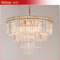American Style Crystal Pendant Light Iron Retro Gold Circular Lamps For Hotel Living Room Restaurant Bedroom