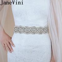 JaneVini Luxury Crystal Wedding Belt Pearls Silver Rhinestones Bridesmaid Belt Beaded Bridal Sashes Dress vestidos cintura 2019