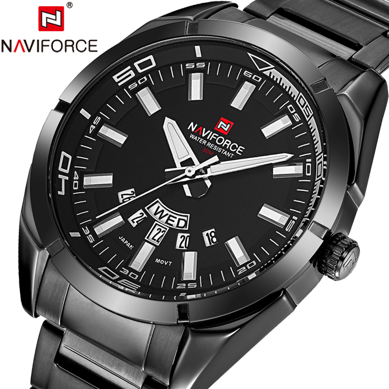 NAVIFORCE Men's Watch Luxury Brand Full Steel Quartz Wristwatches 24 Hour Date Clock Week Display Watches Men Relogio Masculino read brand tops automatic watches men minimalism luxury black watch men full steel relogio japan movement week and date 8082