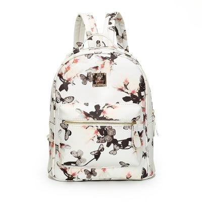 ФОТО Fashion Women Backpack Bag 2016 PU Leather Women Backpack Floral Printing For Teenage Girl Hand-made Bags