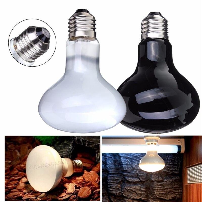 100W E27 Heat UVA Light Bulb Basking Heating Lamp Bulbs For Reptile Snake  Lizard Turtle Pet Amphibian Brooder Chick Black White
