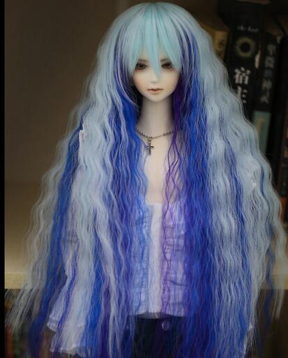 1/3 22-23 см БЖД SD DD MSD кукла парик принцессы волны озера синий супер длинный парик