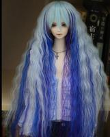 1/3 22-23 CM BJD SD GG MSD Parrucca Bambola Principessa Onda Lago Blu Super Long Parrucca di Capelli