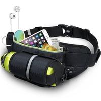Black Waist Pack Bags With Water Bottle Holder Waterproof Running Belt For Men Women Reflective Bottle