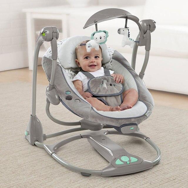 Regalo de recién nacido Multifunctio música eléctrica columpio americano silla cómoda cuna de bebé múltiples engranajes ajustable cinturon de 5 puntos