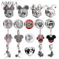 AIMELA 925 Sterling Silver Mickey Minnie Charms Beads For Jewelry Making Cartoon Pendants Fit Women Bracelets DIY Accessories