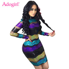 Adogirl Sheer Mesh Patchwork Stripe Sequins Dress Long Sleeve Sheath Bodycon Mini Party Dress Sexy Night Club Costumes Vestidos(China)