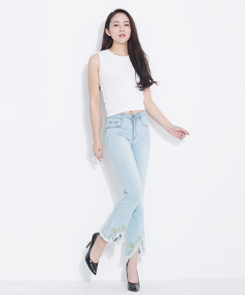 KSTUN FERZIGE Jeans for Women 2020 Summer High Waist Embroidery Stretch Slim Thin Light Blue Boot Cut  Sexy Ladies Flared Pants Femme 12
