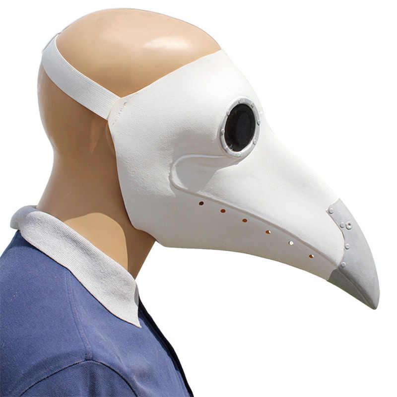 Cosplay Steampunk Wabah Dokter Masker Putih/Lateks Hitam Burung Paruh Masker Hidung Panjang Halloween Acara Pesta Bola Kostum Alat Peraga