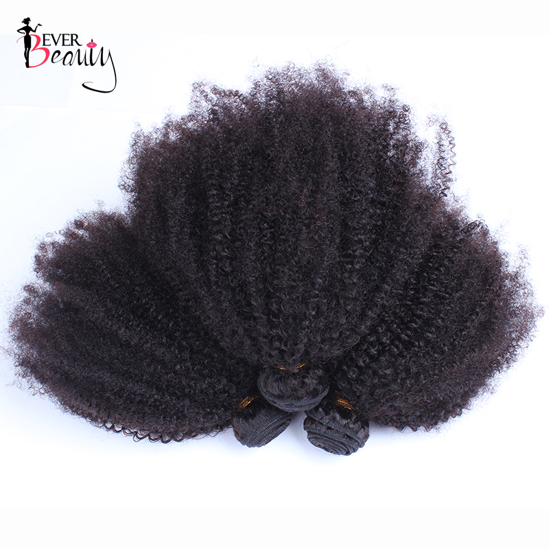 Mongolian Afro Kinky Curly Hair Extensions Natural Color 4B 4C Remy Human Hair Weave Bundles 3