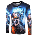 free shipping 2016 spring new arrive  fashion personality male t-shirt skulls street style full sleeve O-neck ens tee 14M66