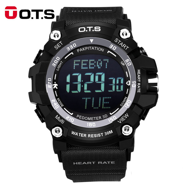 Casual OTS LED Mens Military Digital Watch Men Sports Watches Heart Rate Monitor Waterproof Outdoor Wristwatch