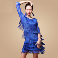 Fantasia Latin Dance Dresses for Ladies Blue Red Black Tassel Skirt Costume Women Ballroom Professional Samba Costumes N1035